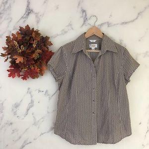 Talbots Stretch Honeycomb Print Shirt